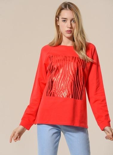 Agenda Baskı Detaylı Sweatshirt Kırmızı